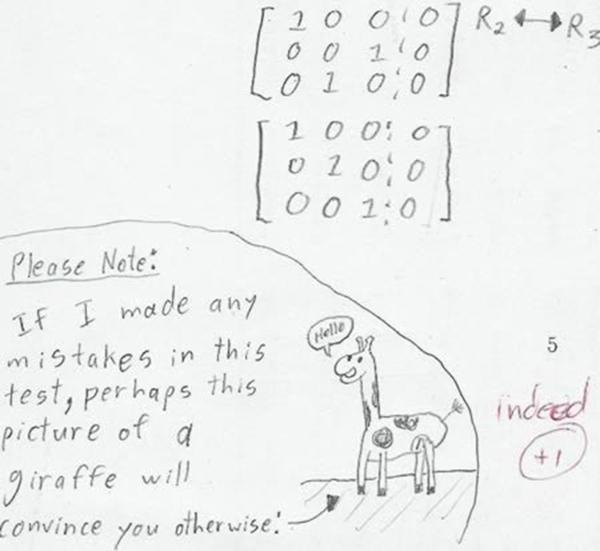 """Học sinh: """"Nếu em có làm sai lỗi nào trong bài kiểm tra này, có lẽ chú hươu cao cổ này sẽ có thể thuyết phục được thầy/cô."""" Giáo viên: """"Có cố gắng. Cộng 1 điểm"""""""