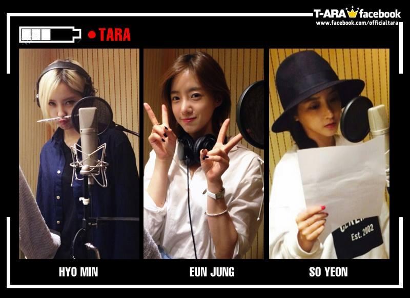 Ba thành viên Hyomin, Eunjung và Soyeon đang chăm chỉ thu âm cho ca khúc mới