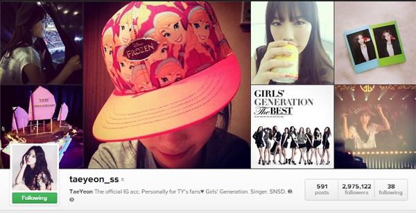 Đứng thứ 2 là Instagram của trưởng nhómSNSD - Taeyeonvới 2.975.122 lượt theo dõi.