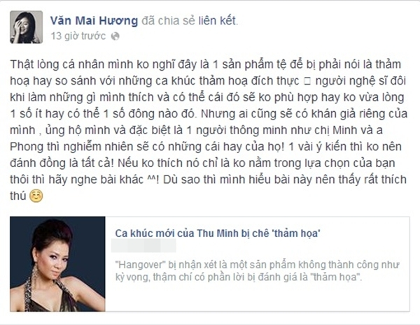 Văn Mai Hương cũng đưa quan điểm cá nhân của mình khi nghe về ca khúc mới của đàn chị Thu Minh. - Tin sao Viet - Tin tuc sao Viet - Scandal sao Viet - Tin tuc cua Sao - Tin cua Sao