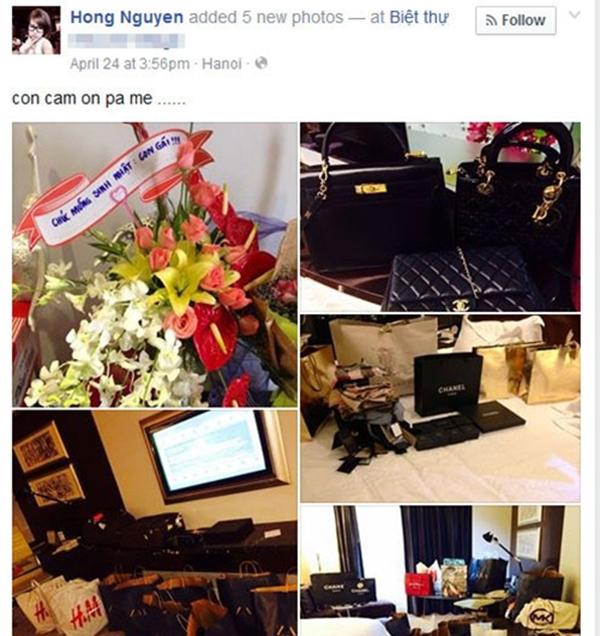 Hong Nguyen thường xuyên khoe khoang đồ cá nhân trên Facebook.