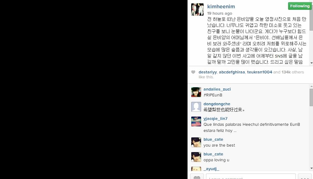 Dòng chia sẻ đầy xúc động của Heechul trên trang cá nhân