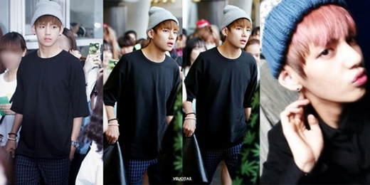 V (BTS) là chàng trai diện mũ beanie đơn giản nhất và không kém phần đáng yêu.