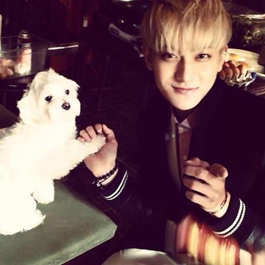 Tao khoe hình đang nắm tay chú cún vô cùng dễ thương