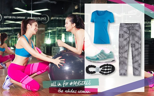 Còn đây là 2 set đồ ăn ý dành cho bạn. Kết hợp áo bra xanh – quần hồng – giày tím nhạt, hoặc áo thun xanh – quần legging họa tiết trung tính – giày xanh sẽ khiến bạn vừa khỏe khoắn lại vừa nữ tính.