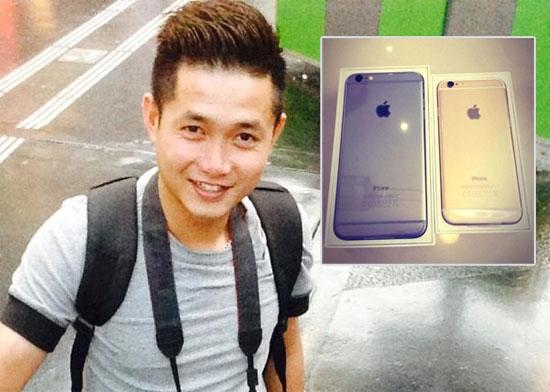 Nguyễn Ngọc Anh và bộ đôi iPhone 6 vừa mua. Ảnh: FBNV.