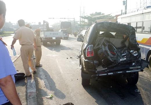 Tai nạn xảy ra sáng 25/9 tại ngã tư Đồng Tâm trên quốc lộ 1A thuộc xã Thạnh Phú, huyện Châu Thành (Tiền Giang).