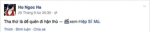 """Rất hiếm hoi xuất hiện ở rạp chiếu phim vì công việc vô cùng bận rộn, song Hồ Ngọc Hà cũng sắp xếp thời gian để thưởng thức bộ phim đang được chú ý nhất ở thời điểm hiện tại. Ấn tượng với những lời thoại ở trong phim, Hà Hồ đã trích nguyên câu nói: """"Tha thứ để quên đi hận thù"""" để đăng tải lên trang facebook cá nhân."""