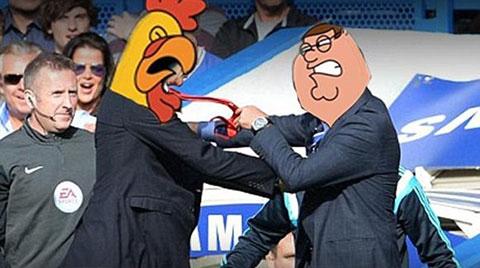Vụ đẩy nhau của Wenger và Mourinho gợi nhớ tới những nhân vật trong bộ phim hoạt hình Family Guy.