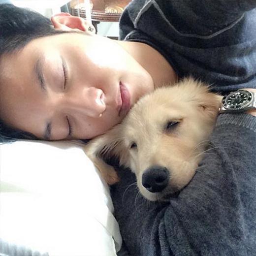 Jungshin (CN Blue) ôm cún ngủ tỉnh bơ khiến fan vô cùng thích thú