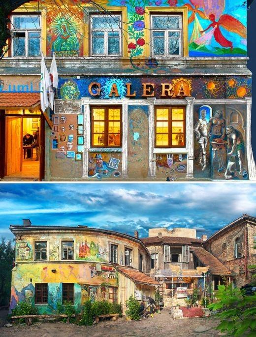 Một phòng tranh nghệ thuật ngay từ bên ngoài ở Lithuania