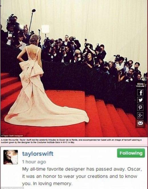Taylor Swift cùng thiên thần Victoria Secret Karlie Kloss tiếc thương cho sự ra đi của Oscar