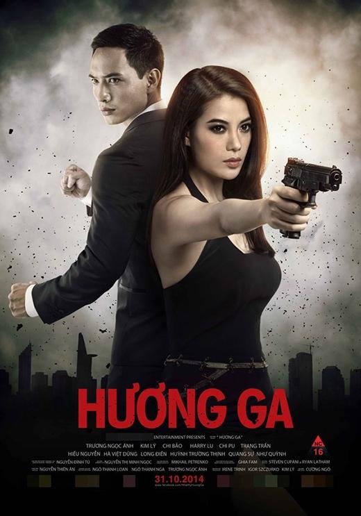 Kim Lý và Trương Ngọc Ánh trên poster phim Hương ga