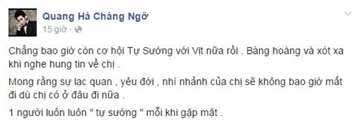 Quang Hà cảm thấy xót xa trước sự ra đi đột ngột của chị Tố Như.