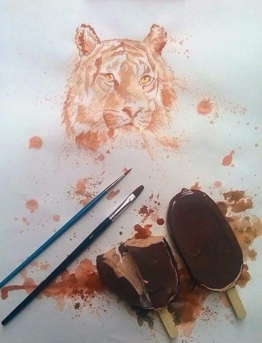 Thú vị những bức tranh vẽ từ...kem