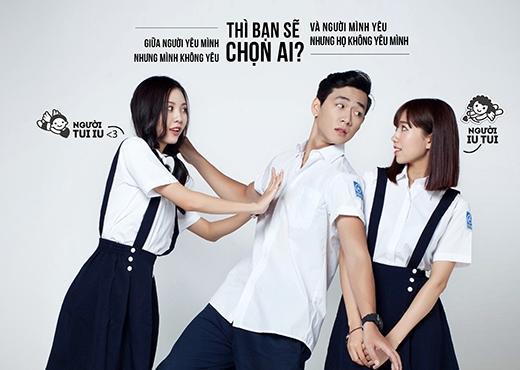 Ba Duy (vai Tường Huy) khó xử trước hai cô gái