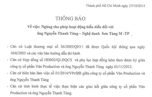 Công văn xử phạt của công ty Văn Production dành cho Sơn Tùng - Tin sao Viet - Tin tuc sao Viet - Scandal sao Viet - Tin tuc cua Sao - Tin cua Sao