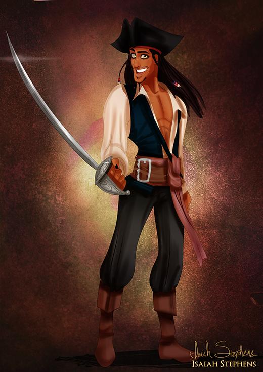 Hoàng tử Naveen trong Công chúa và chàng ếch hóa thân thành thuyền trưởng Jack Sparrow (Cướp biển vùng Caribbean)