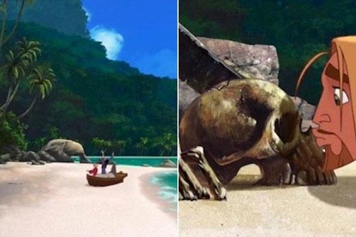 Trong The Road to El Dorado, khi Miguel và Tulio cập bờ biển bằng chiếc tàu, bãi biển hoàn toàn trống không. Đến khi họ bắt đầu hôn vào bãi cát đột nhiên một chiếc đầu lâu từ đâu lại xuất hiện.