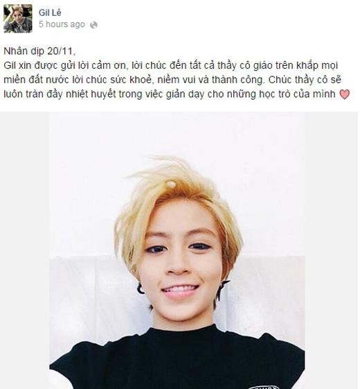 Cô học trò 'cá biệt ngầm' Gil Lê cũng gửi lời chúc đến thầy cô nhân ngày 20/11.