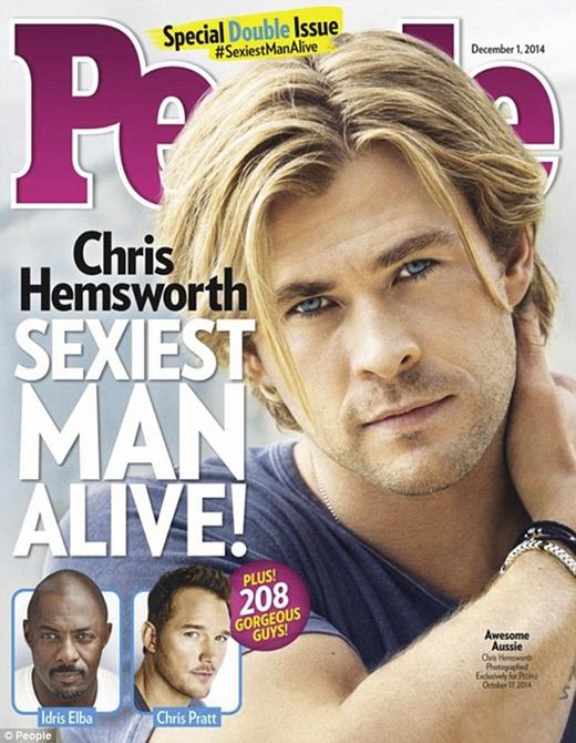 Và cuối cùng nhân vật chính trong năm nay, Chris Hemsworth vừa được thông báo là Người đang ông hấp dẫn nhất hành tinh năm 2014.