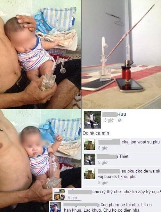 Ông bố ở Hà Nội nhét ống hút ma túy đá vào miệng con nhỏ gây sốc.