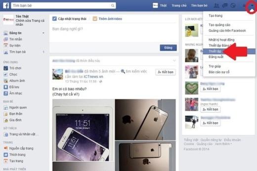 """Đăng xuất Facebook từ xa: Ngoài giao diện chính tài khoản Facebook của bạn, hãy bấm biểu tượng tam giác nhỏ góc trên bên phải và chọn """"Thiết lập"""" (mũi tên)."""