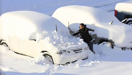 Ô tô phủ dày tuyết khiến người chủ nếu muốn đi thì phải mất nhiều giờ dọn dẹp.