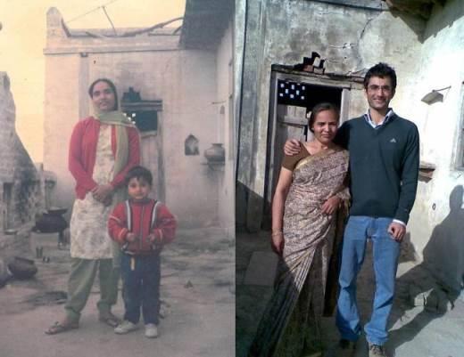 Mẹ và con trai. Hai bức ảnh cách nhau 21 năm, vẫn tại góc sân ngôi nhà ấy. Con trai nay đã lớn rất nhiều nhưng con dù khác vẫn là con của mẹ
