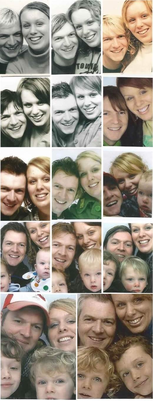 Từ năm 2000, Giles và Michelle Paley-Phillips đã bắt đầu hẹn hò. Kể từ đó, mỗi năm họ lại chụp những bức hình cùng nhau. Thế rồi những đứa trẻ cũng ra đời và cùng bố mẹ chen chúc vào bức ảnh vĩ đại năm xưa. Không biết bức ảnh tí hon này có kham nổi thêm những thành viên tiếp theo của gia đình không nữa, và tất nhiên càng đông sẽ lại càng vui
