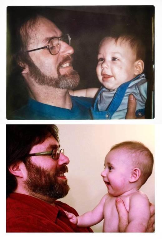 Bức ảnh gồm có: Ông nội, con trai và cháu trai