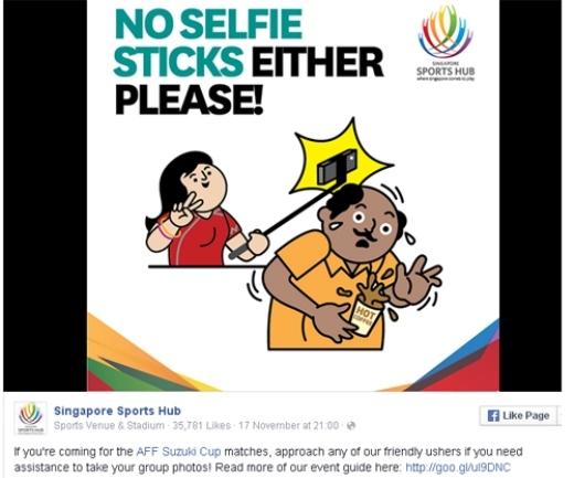 'Nếu đi xem các trận đấu tại giải AFF Cup 2014, hãy nhờ hỗ trợ nếu muốn chụp ảnh cả nhóm'.