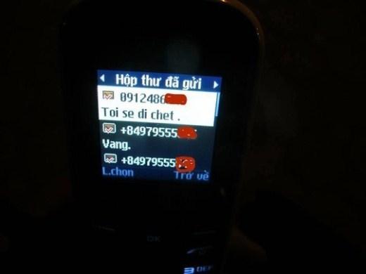 Tin nhắn của cô gái trước khi lên cầu Chương Dương. Ảnh: Người Lao động.