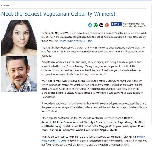 Thông báo của tổ chức PETA về việc Trương Thị May trở thành Mỹ nhân ăn chay hấp dẫn nhất châu Á năm 2014 - Tin sao Viet - Tin tuc sao Viet - Scandal sao Viet - Tin tuc cua Sao - Tin cua Sao