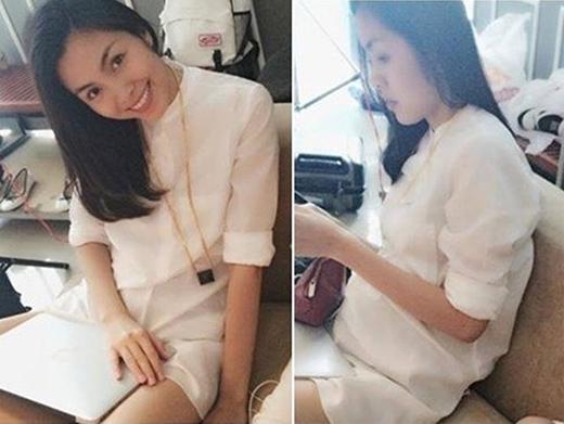 Thời trang ngày thường của Hà Tăng cũng là những mẫu đầm suông giấu bụng rất khéo léo.