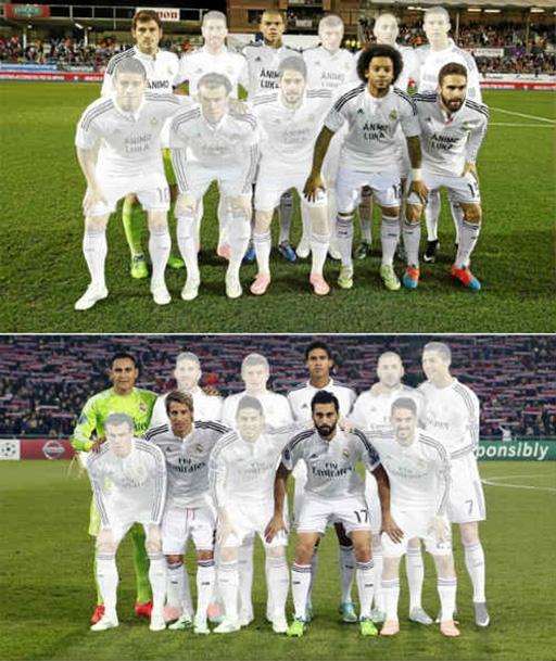 HLV Ancelotti thay thế vị trí thủ môn và hàng phòng ngự (phần nổi) trong kế hoạch xoay tua mùa này