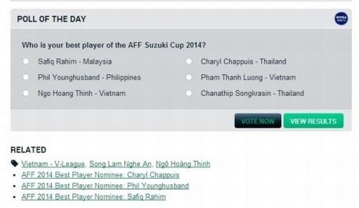 Goal dựa trên bình chọn của độc giả để tìm ra cầu thủ hay nhất AFF Cup 2014 trong sáu cầu thủ được lựa chọn. Ảnh: Chụp từ màn hình.