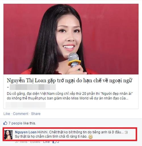 Nguyễn Thị Loan bức xúc cho rằng ban giám khảo Miss World chấm cảm tính