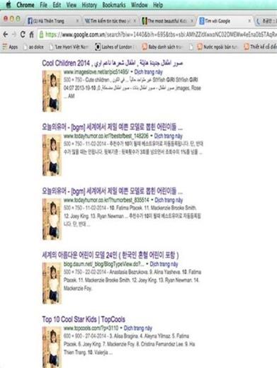 Thiên Trang từng xuất hiện trên nhiều trang web, blog của Hàn Quốc