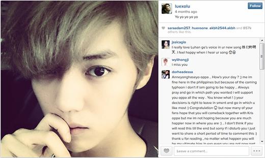 Hình ảnh được nhiều người thích nhất trên Instagram của Luhan