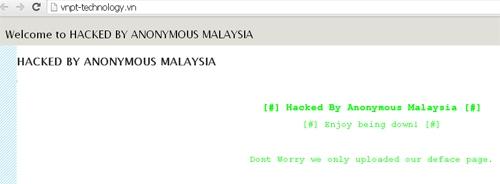 Thông điệp để lại trên một số website .vn bị tấn công deface.