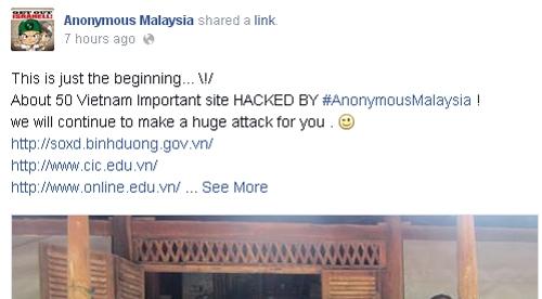 Chiến dịch của Anonymous Malaysia bắt đầu từ đêm qua. Nhóm này tuyên bố có khoảng 50 trang bị đánh sập và sẽ còn tiếp tục tấn công.