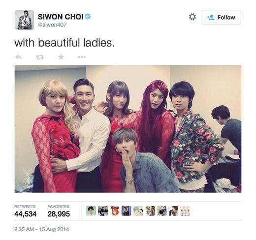 Hình ảnhSiwonchụp cùng những chàng trai giả gái của Super Junior cũng gây được sự chú ý