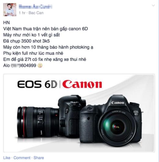 Một chiếc máy ảnh Full-Frame được rao với giá 27 triệu đồng, rẻ hơn 2 triệu đồng so với giá thị trường.
