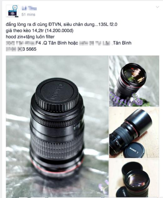 Ống kính 135mm L f/2.0 của Canon có giá thị trường gần 20 triệu nhưng được rao bán chỉ 14,2 triệu đồng sau trận Việt Nam - Malaysia.