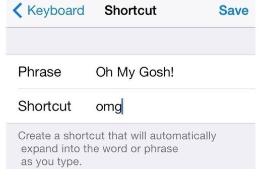 10. Tạo từ viết tắt. Bạn chọn Settings > General > Keyboard > Shortcuts > Add New Shortcut. Sau đó, chọn từ bạn hay sử dụng và từ viết tắt của nó. Bất cứ khi nào bạn viết tắt, từ đầy đủ của nó sẽ xuất hiện.VideoNhững mẹo thú vị của iOS 8 trên iPhone