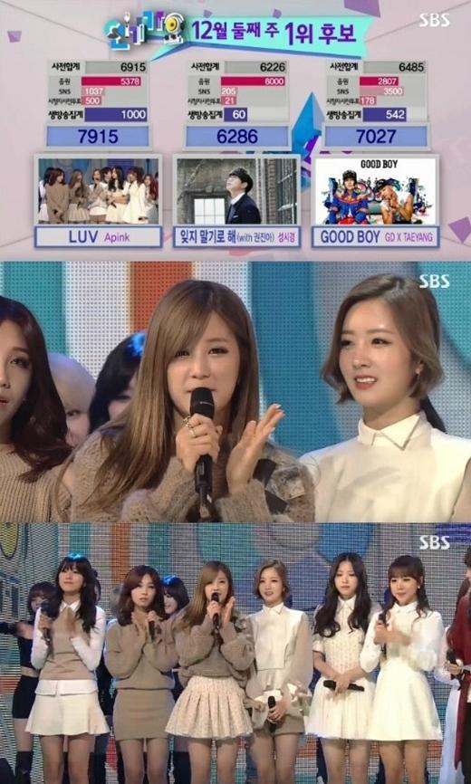 A Pink nhận cup no.1 trên sân khấu Inkygayo ngày 14/12 vừa qua