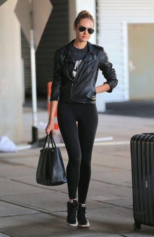 Cách mặc đồ của Candice rất đơn giản. Quần jeans, quần legging, áo pull và áo jacket là 4 thứ mà Candice thường xuyên mặc ra đường.