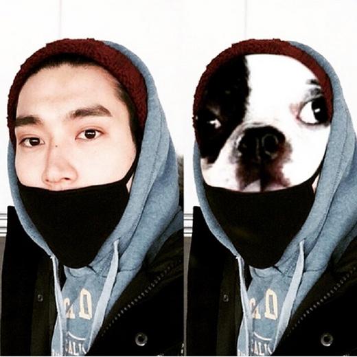 Siwon nghịch ngợm ghép hình cún và viết: 'Hahaha, vui quá đi. Tôi nghĩ tôi có thể làm nhiều trò với Bugsy đó. Bạn có nghĩ vậy không?'.