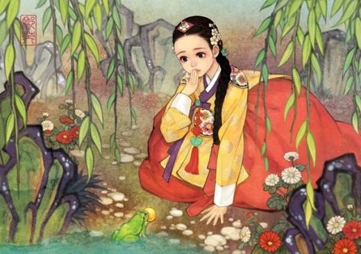 Công chúa đang trò chuyện cùng Hoàng tử ếch